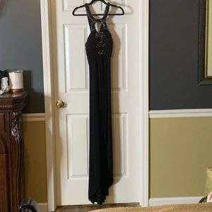 Jovani Black Jeweled Gown Hi/ Lo Sz 10